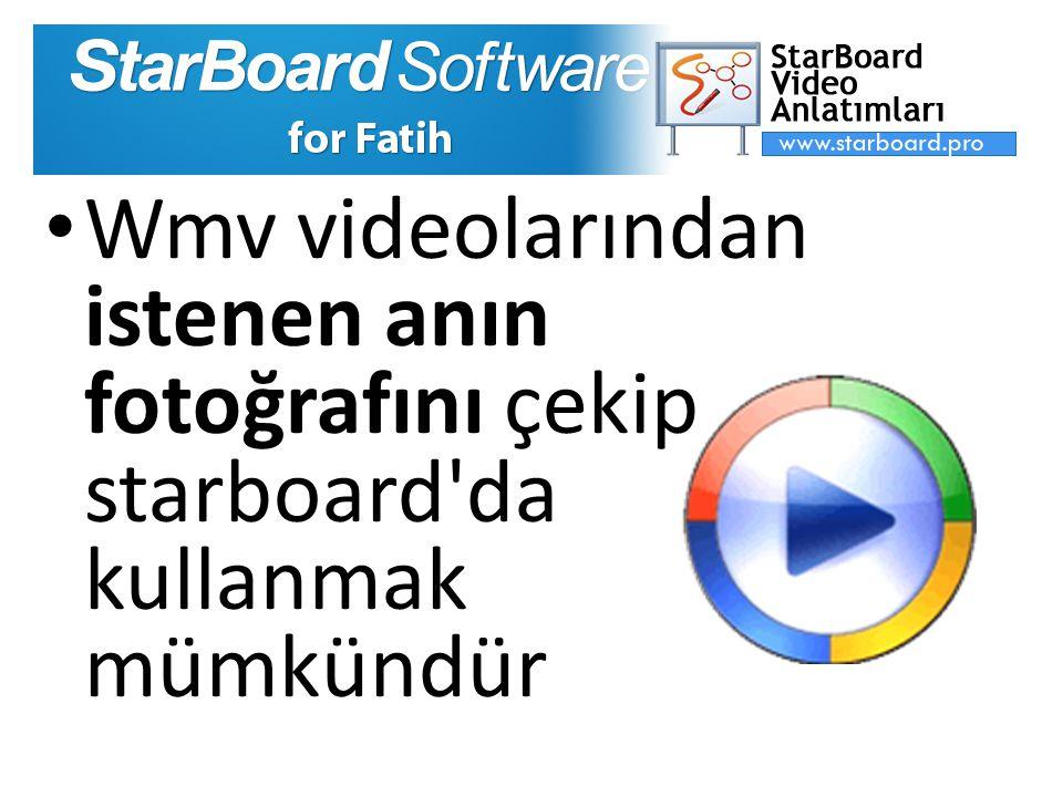 Wmv videolarından istenen anın fotoğrafını çekip starboard da kullanmak mümkündür
