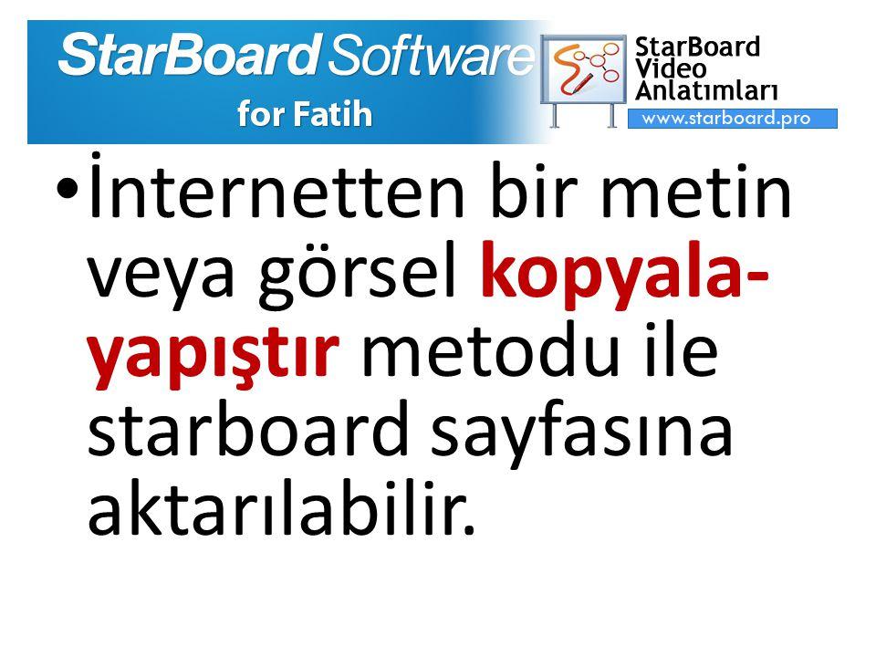 İnternetten bir metin veya görsel kopyala-yapıştır metodu ile starboard sayfasına aktarılabilir.