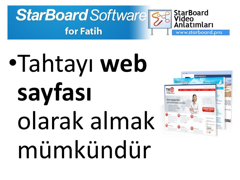 Tahtayı web sayfası olarak almak mümkündür