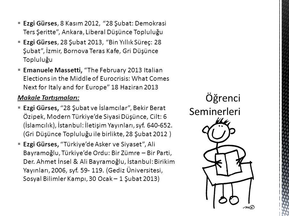 Ezgi Gürses, 8 Kasım 2012, 28 Şubat: Demokrasi Ters Şeritte , Ankara, Liberal Düşünce Topluluğu