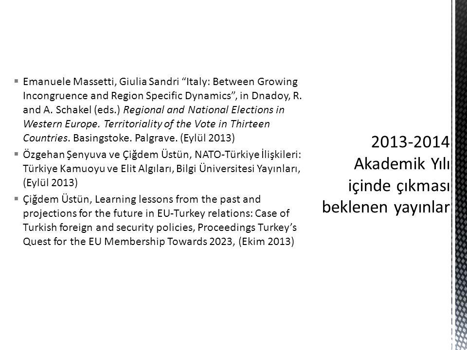 2013-2014 Akademik Yılı içinde çıkması beklenen yayınlar