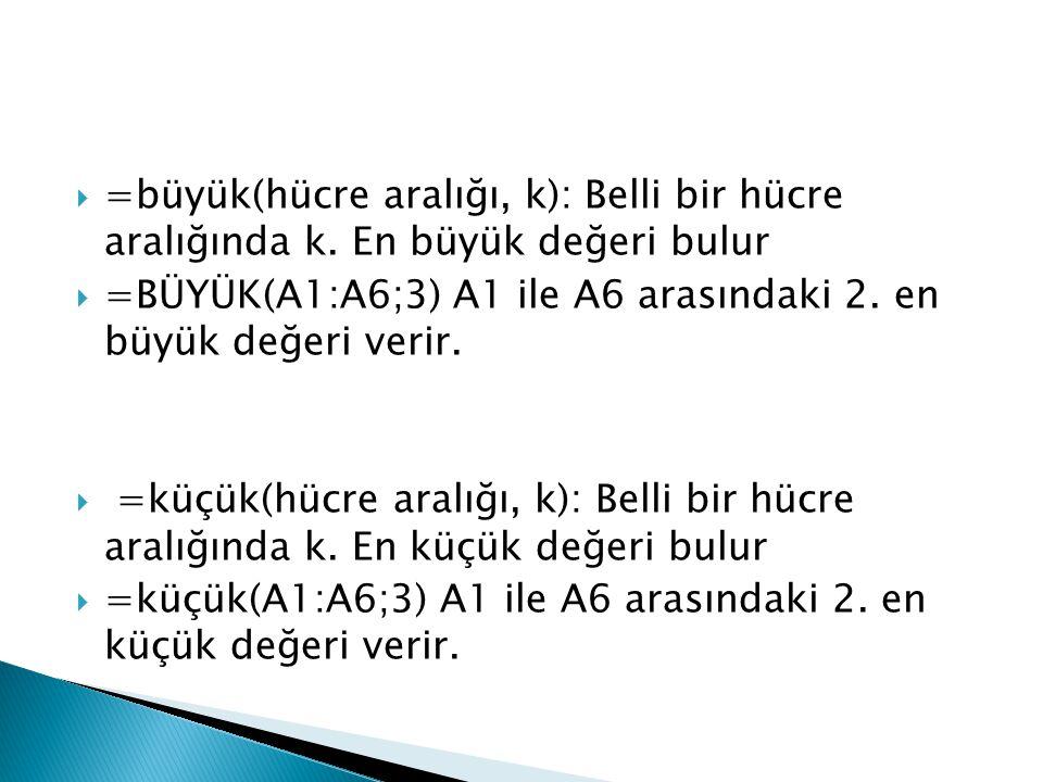 =büyük(hücre aralığı, k): Belli bir hücre aralığında k