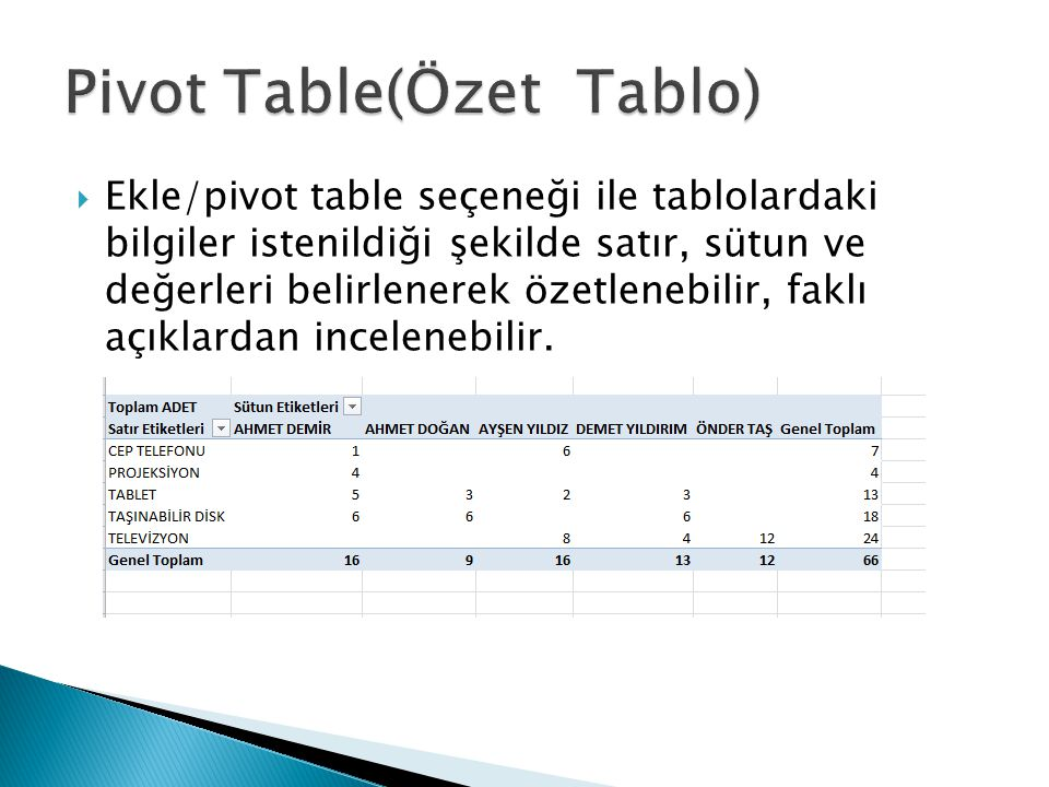 Pivot Table(Özet Tablo)