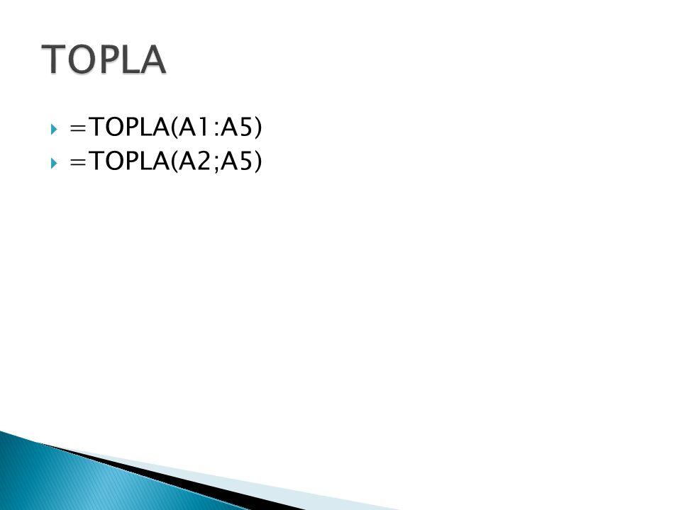 TOPLA =TOPLA(A1:A5) =TOPLA(A2;A5)