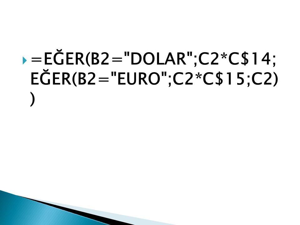 =EĞER(B2= DOLAR ;C2*C$14; EĞER(B2= EURO ;C2*C$15;C2) )