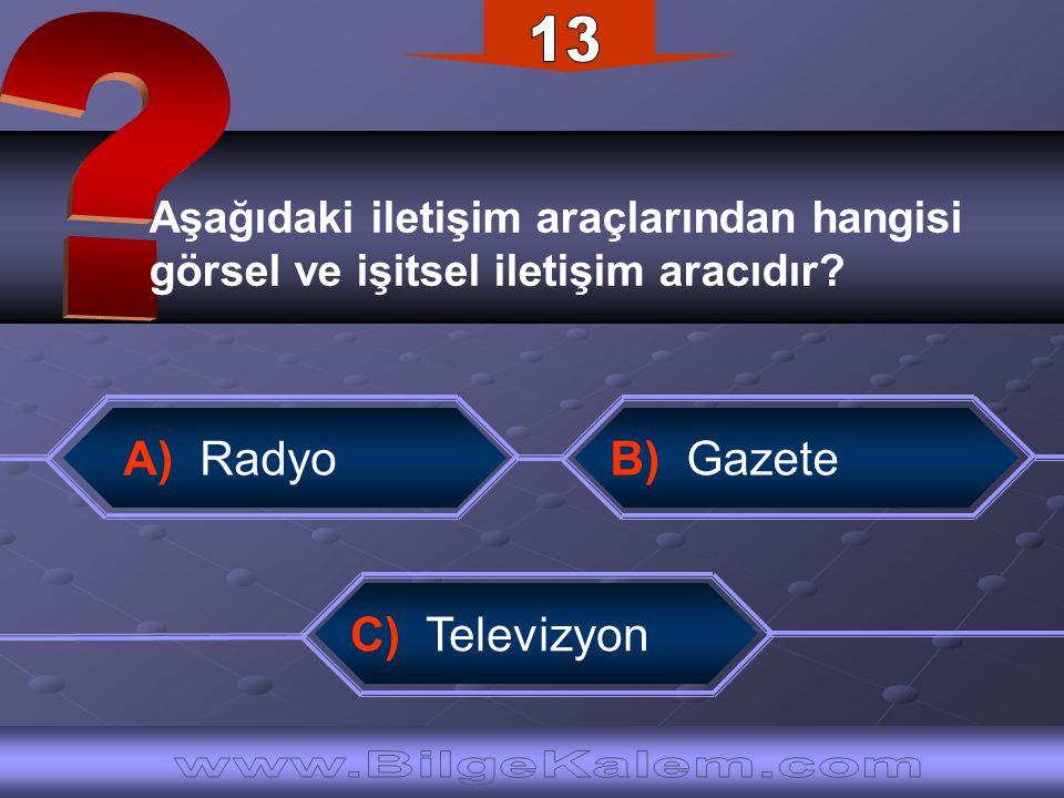 13 www.BilgeKalem.com A) Radyo B) Gazete
