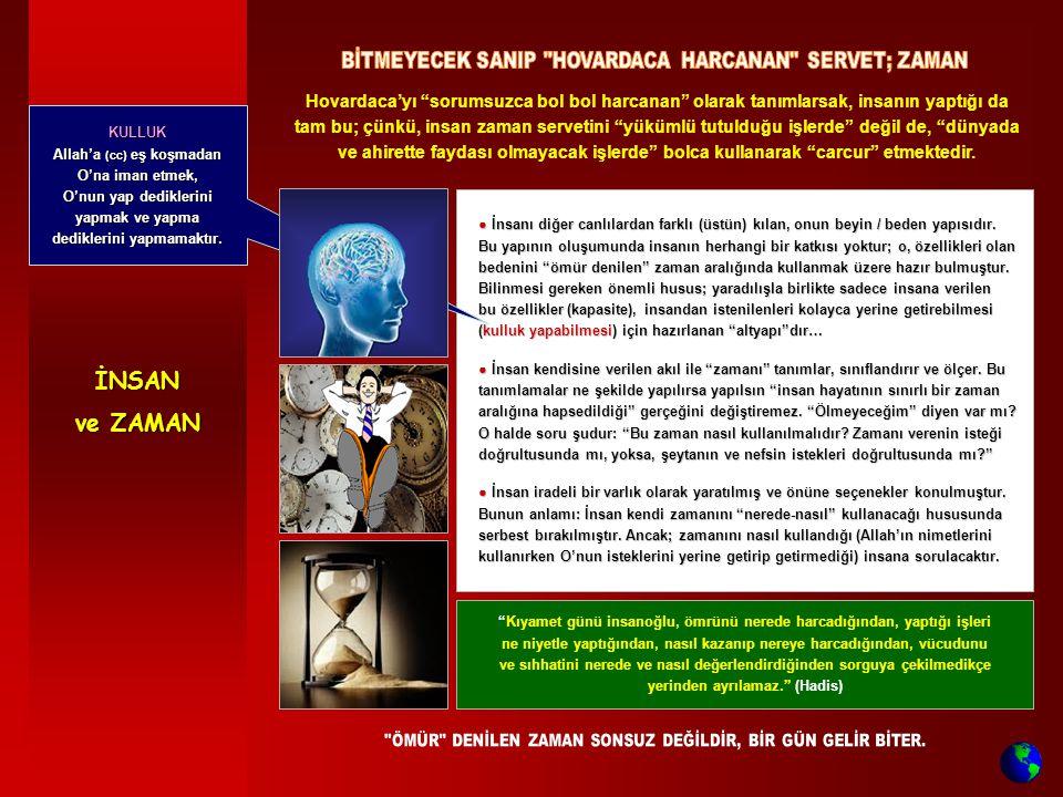 İNSAN ve ZAMAN BİTMEYECEK SANIP HOVARDACA HARCANAN SERVET; ZAMAN