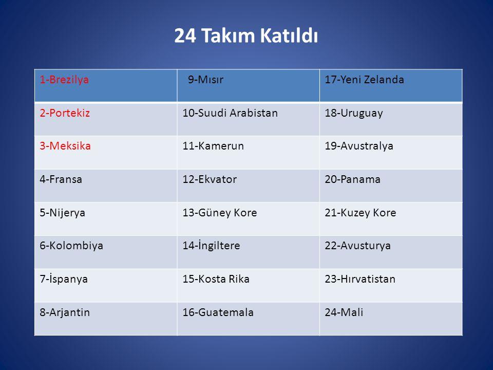 24 Takım Katıldı 1-Brezilya 9-Mısır 17-Yeni Zelanda 2-Portekiz