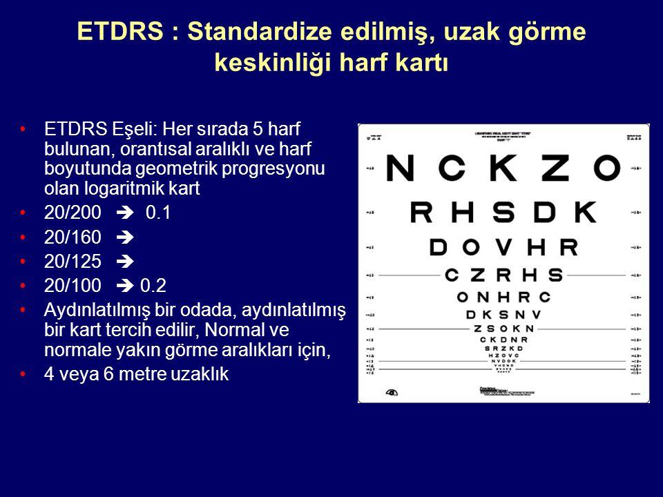 ETDRS : Standardize edilmiş, uzak görme keskinliği harf kartı