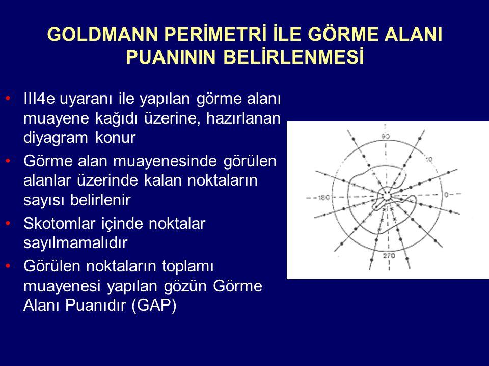 GOLDMANN PERİMETRİ İLE GÖRME ALANI PUANININ BELİRLENMESİ