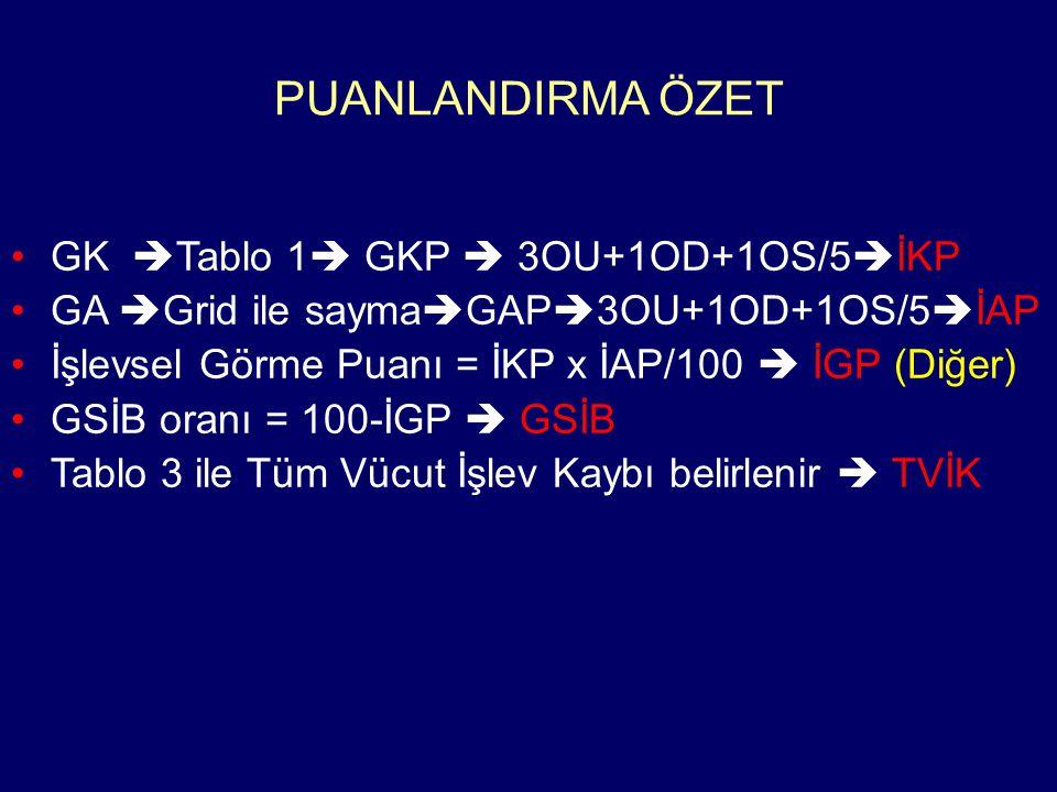 PUANLANDIRMA ÖZET GK Tablo 1 GKP  3OU+1OD+1OS/5İKP