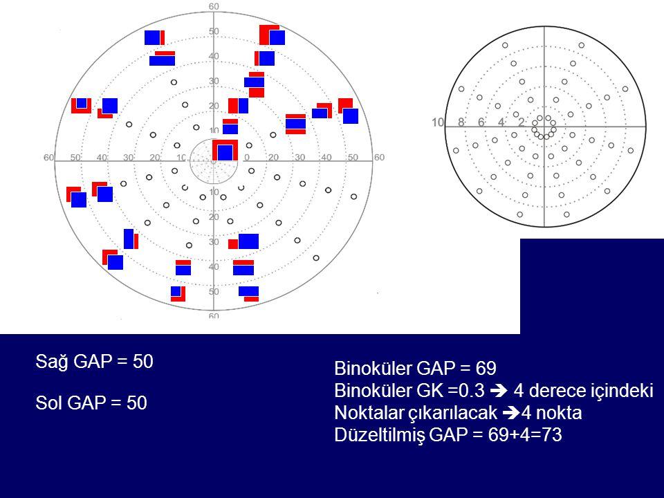 Sağ GAP = 50 Binoküler GAP = 69. Binoküler GK =0.3  4 derece içindeki. Noktalar çıkarılacak 4 nokta.