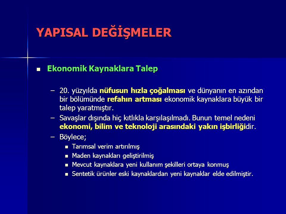 YAPISAL DEĞİŞMELER Ekonomik Kaynaklara Talep