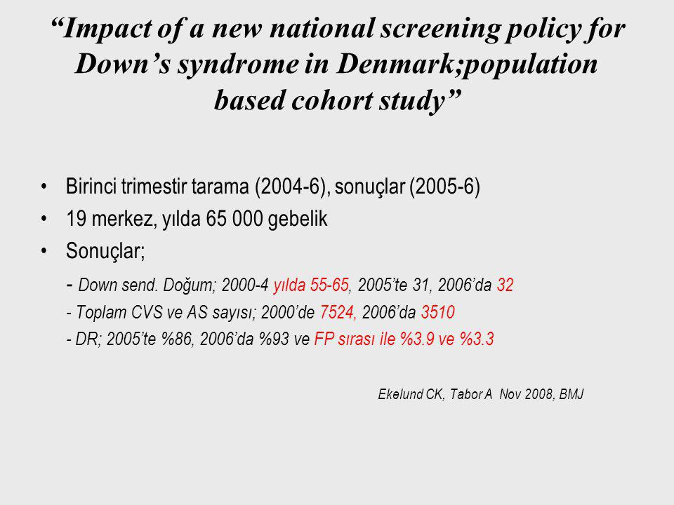 Impact of a new national screening policy for Down's syndrome in Denmark;population based cohort study