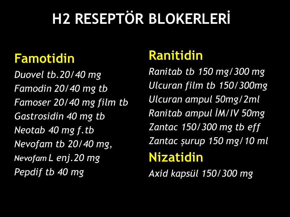 H2 RESEPTÖR BLOKERLERİ Ranitidin Famotidin Nizatidin