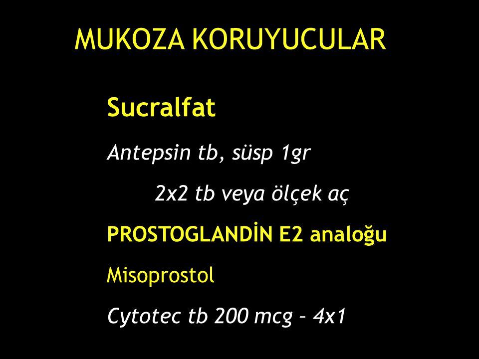 MUKOZA KORUYUCULAR Sucralfat Antepsin tb, süsp 1gr