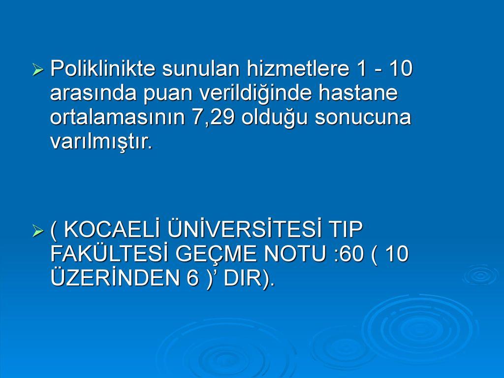 Poliklinikte sunulan hizmetlere 1 - 10 arasında puan verildiğinde hastane ortalamasının 7,29 olduğu sonucuna varılmıştır.