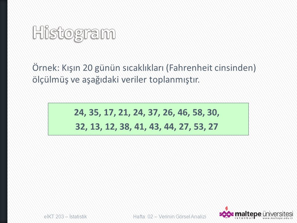 Histogram Örnek: Kışın 20 günün sıcaklıkları (Fahrenheit cinsinden) ölçülmüş ve aşağıdaki veriler toplanmıştır.