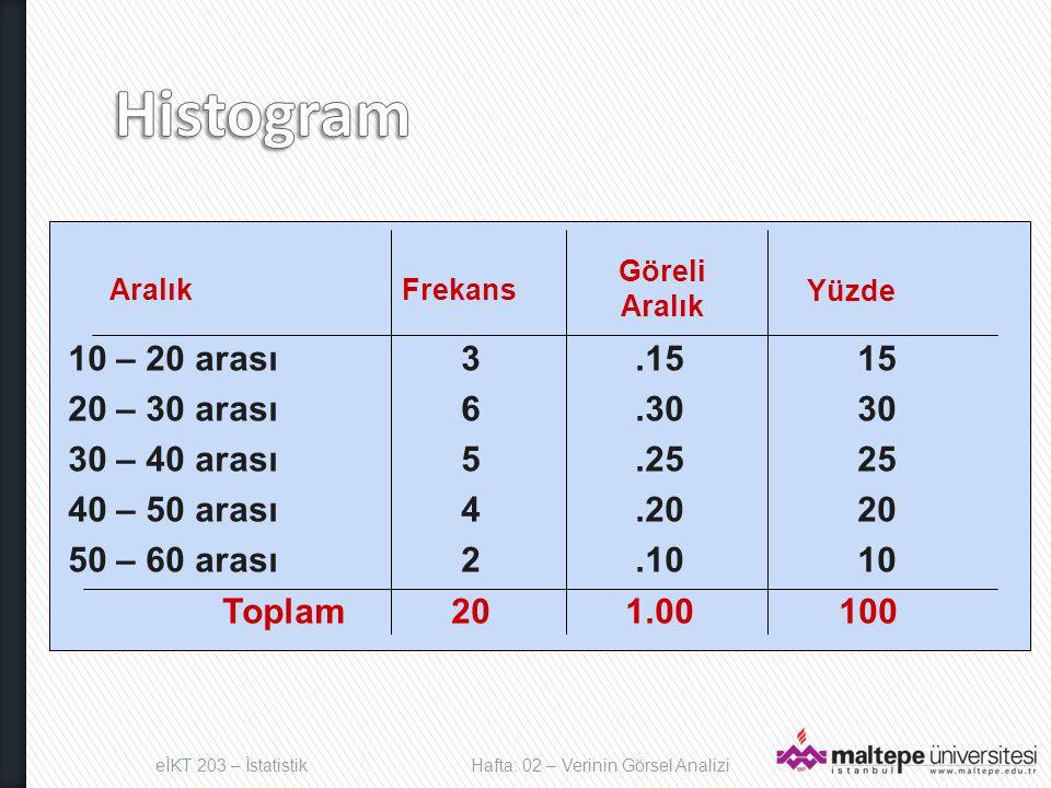 Histogram Aralık Frekans Yüzde 10 – 20 arası 3 .15 15
