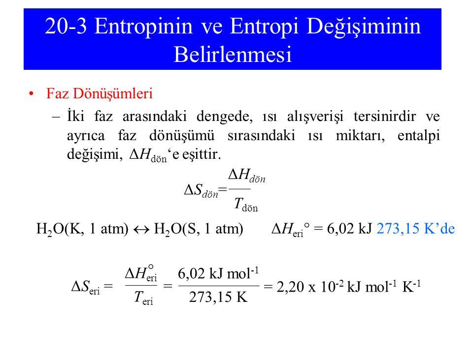 20-3 Entropinin ve Entropi Değişiminin Belirlenmesi