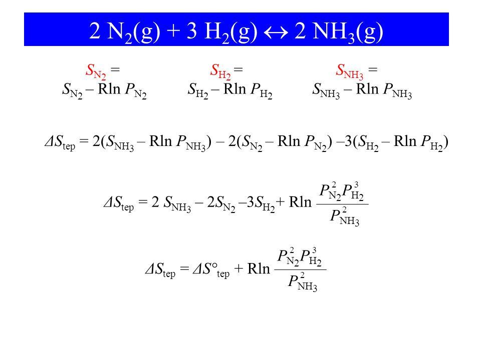 ΔStep = 2(SNH3 – Rln PNH3) – 2(SN2 – Rln PN2) –3(SH2 – Rln PH2)