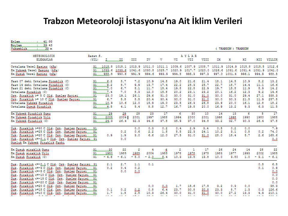 Trabzon Meteoroloji İstasyonu'na Ait İklim Verileri