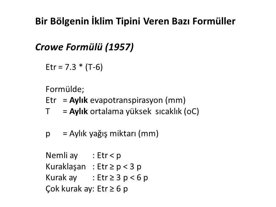 Bir Bölgenin İklim Tipini Veren Bazı Formüller Crowe Formülü (1957)