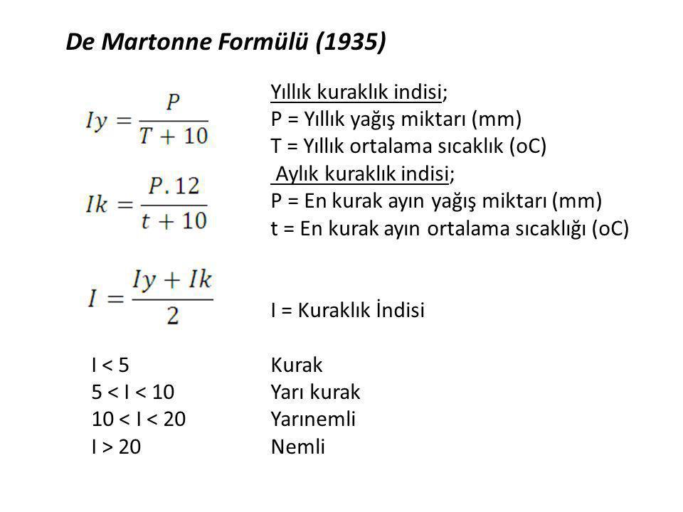 De Martonne Formülü (1935) P = Yıllık yağış miktarı (mm)