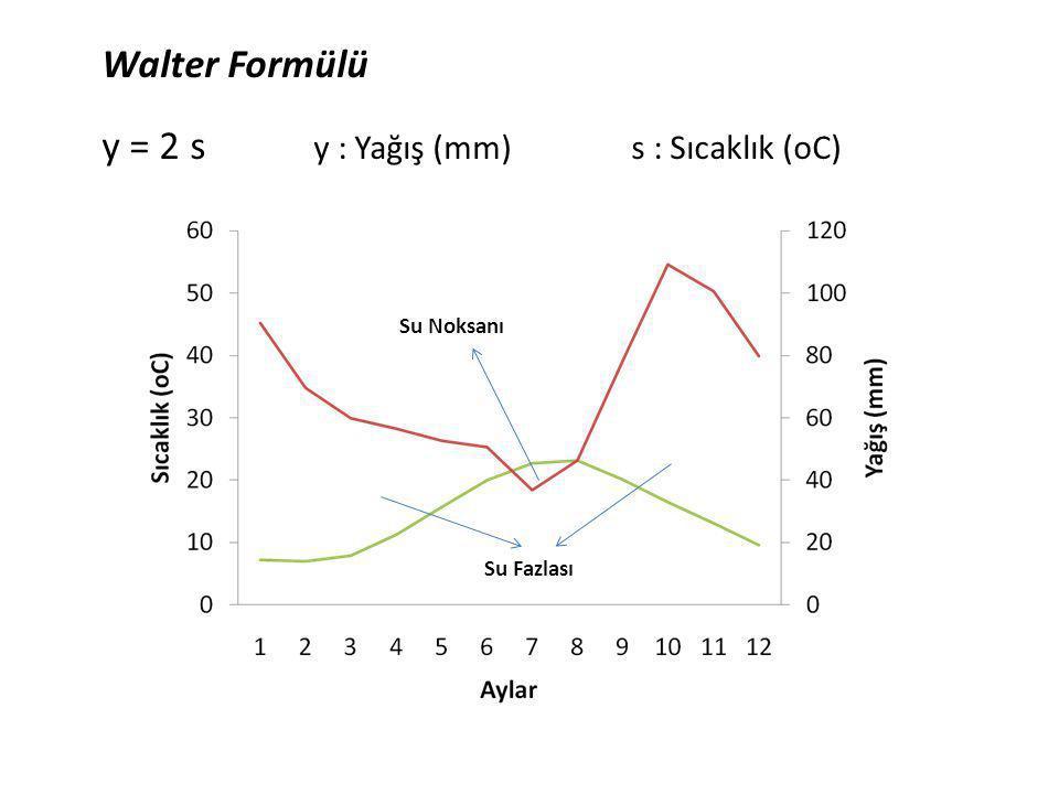 y = 2 s y : Yağış (mm) s : Sıcaklık (oC)