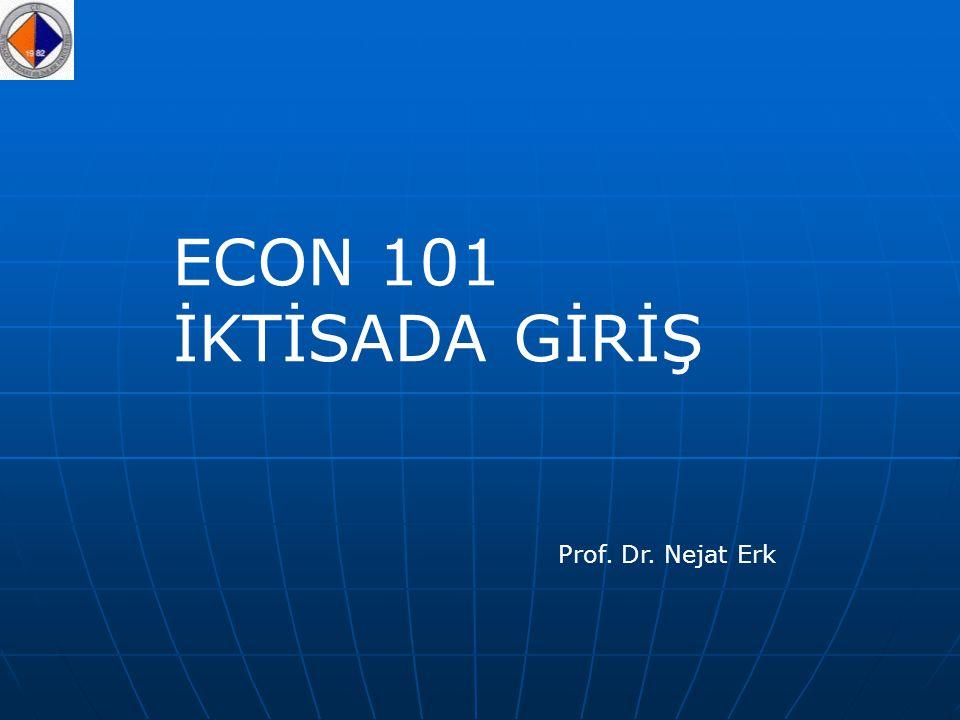 ECON 101 İKTİSADA GİRİŞ Prof. Dr. Nejat Erk