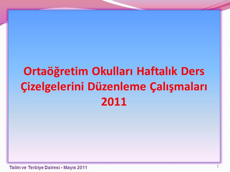 Ortaöğretim Okulları Haftalık Ders Çizelgelerini Düzenleme Çalışmaları 2011