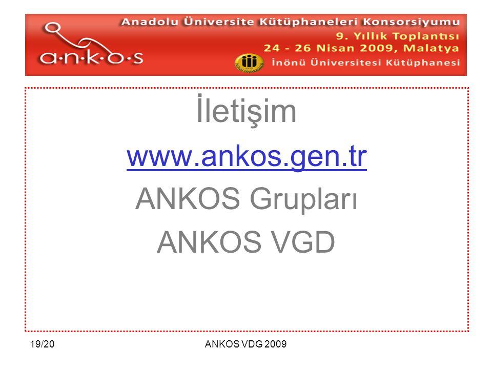 İletişim www.ankos.gen.tr ANKOS Grupları ANKOS VGD 19/20