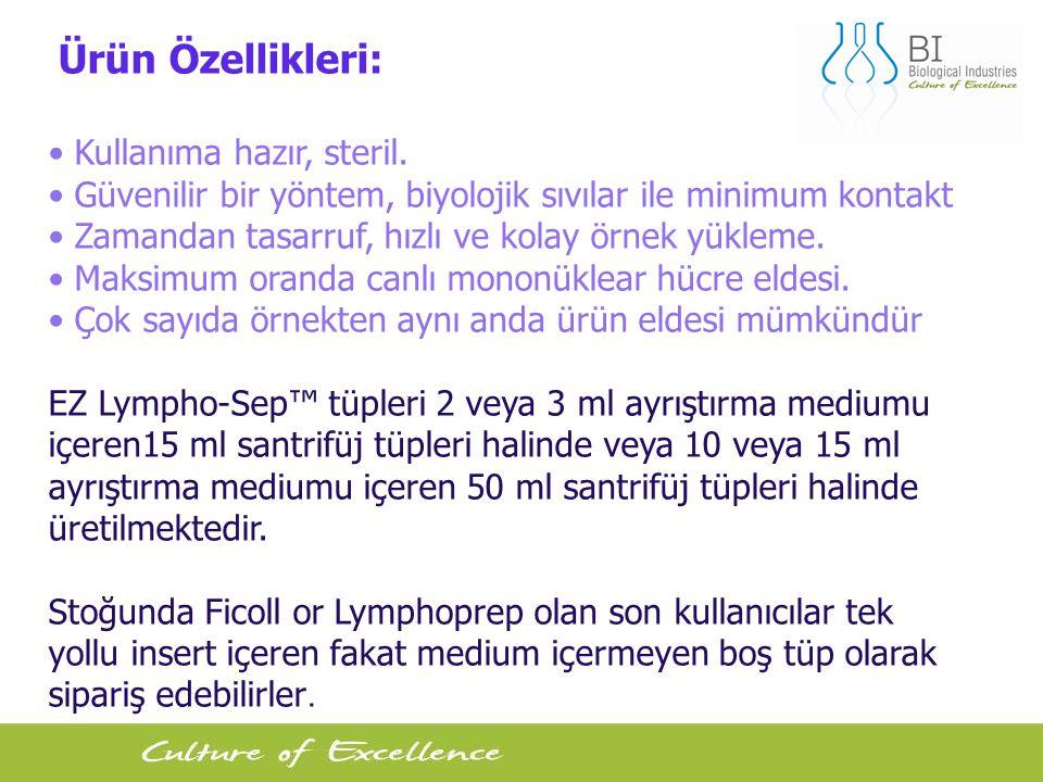 Ürün Özellikleri: • Kullanıma hazır, steril. • Güvenilir bir yöntem, biyolojik sıvılar ile minimum kontakt.