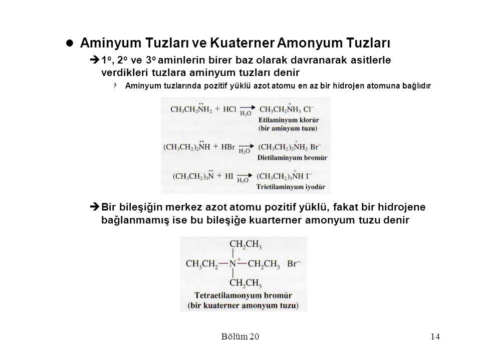 Aminyum Tuzları ve Kuaterner Amonyum Tuzları