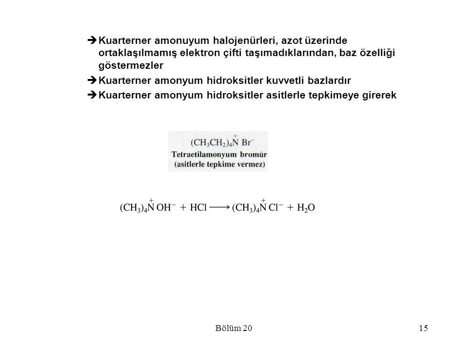 Kuarterner amonyum hidroksitler kuvvetli bazlardır