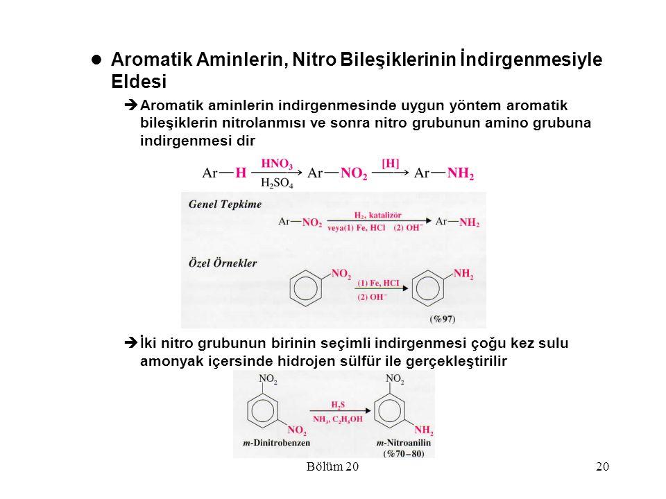 Aromatik Aminlerin, Nitro Bileşiklerinin İndirgenmesiyle Eldesi