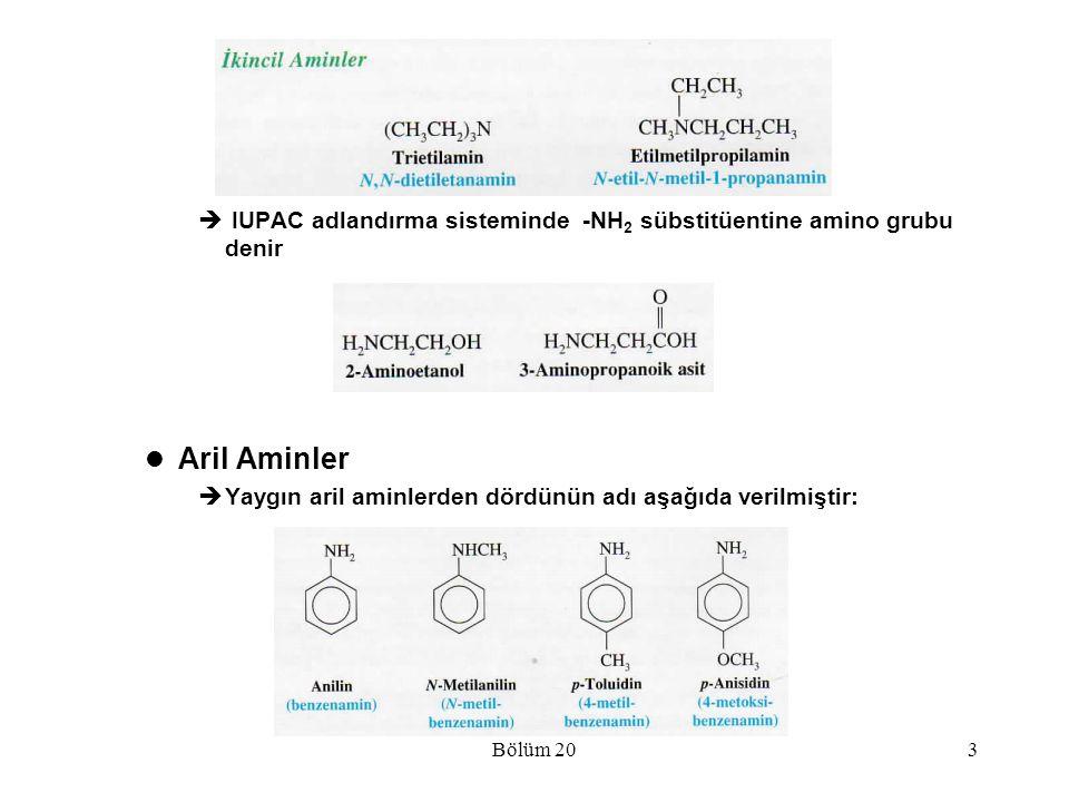 IUPAC adlandırma sisteminde -NH2 sübstitüentine amino grubu denir