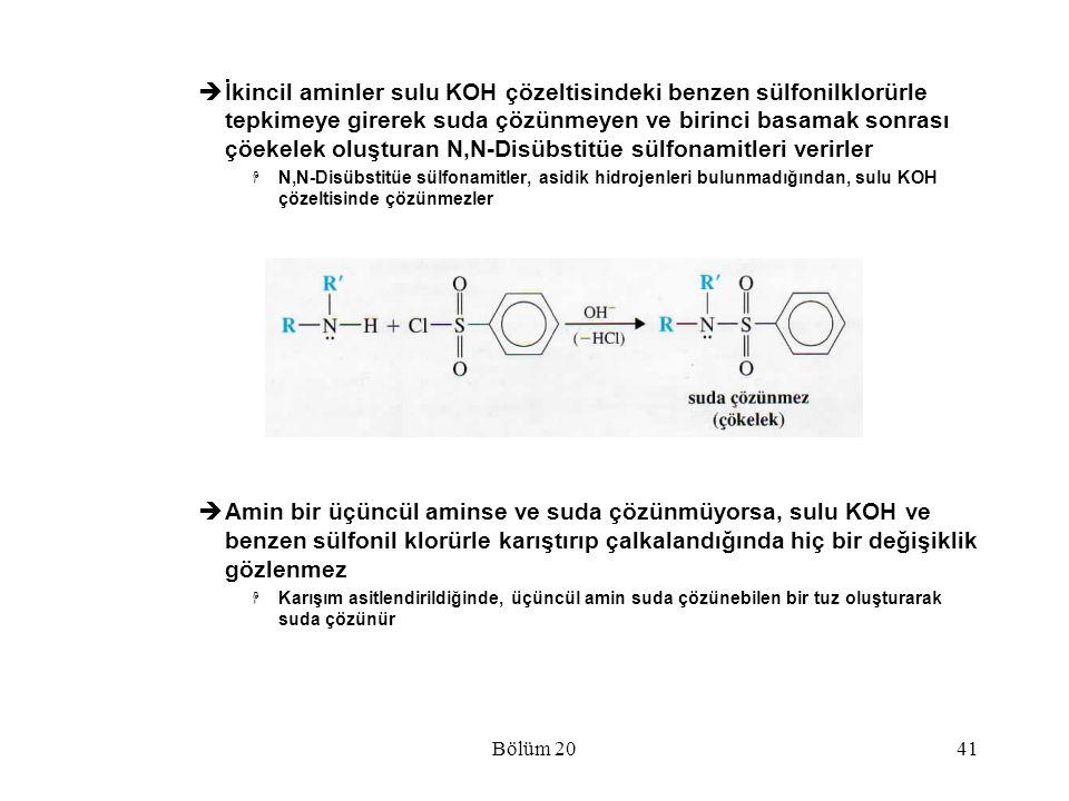 İkincil aminler sulu KOH çözeltisindeki benzen sülfonilklorürle tepkimeye girerek suda çözünmeyen ve birinci basamak sonrası çöekelek oluşturan N,N-Disübstitüe sülfonamitleri verirler