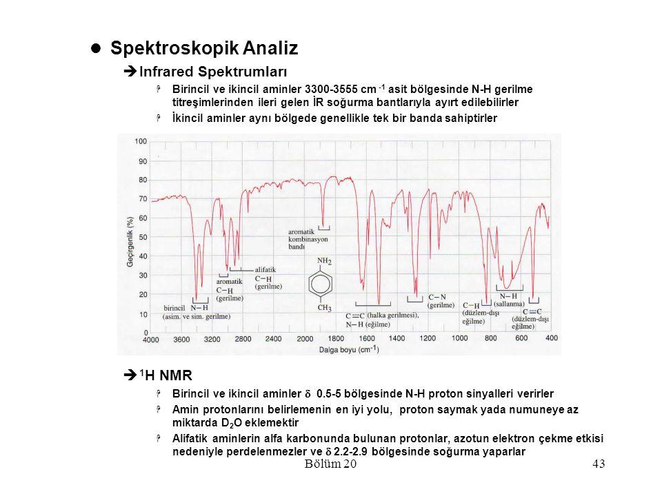Spektroskopik Analiz Infrared Spektrumları 1H NMR Bölüm 20