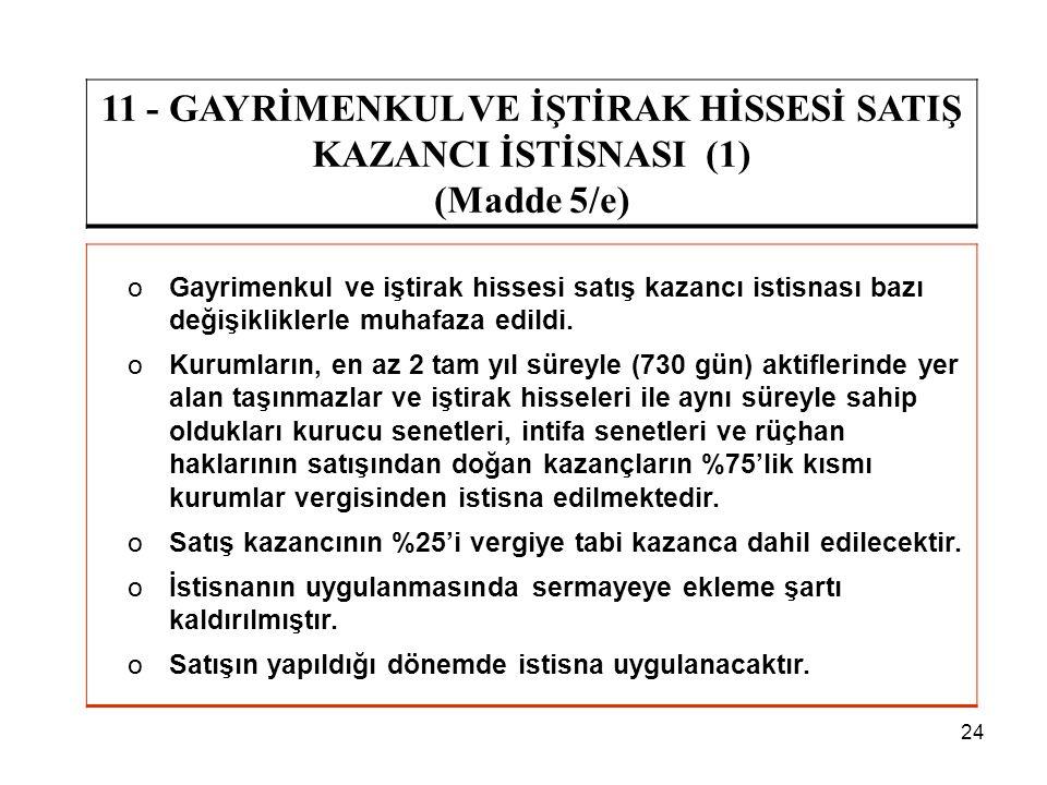 11 - GAYRİMENKUL VE İŞTİRAK HİSSESİ SATIŞ KAZANCI İSTİSNASI (1)