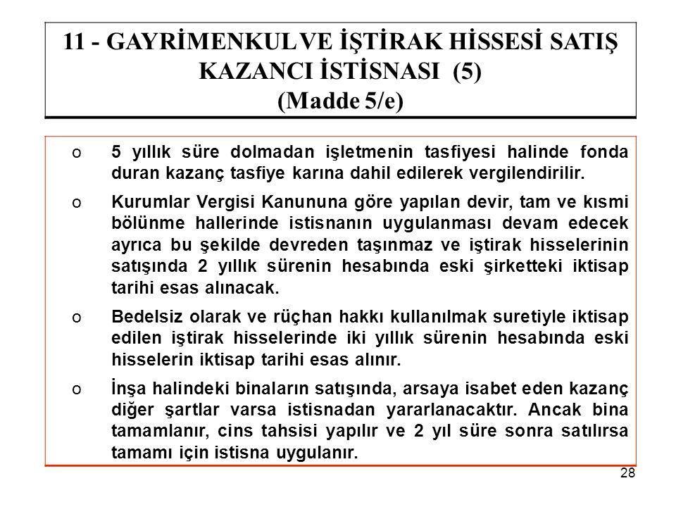 11 - GAYRİMENKUL VE İŞTİRAK HİSSESİ SATIŞ KAZANCI İSTİSNASI (5)