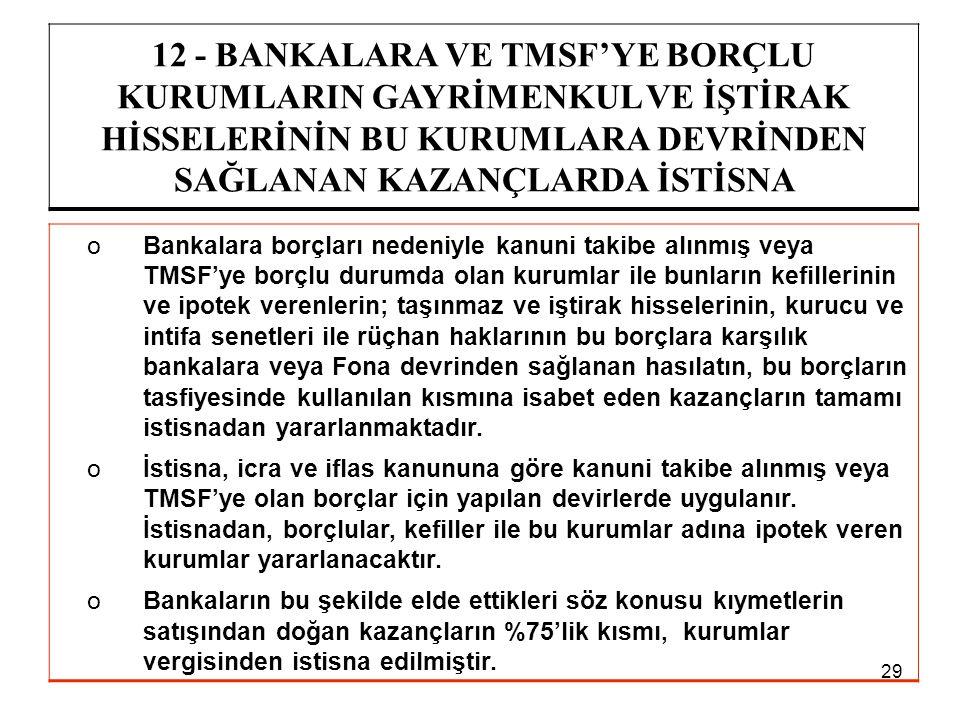12 - BANKALARA VE TMSF'YE BORÇLU KURUMLARIN GAYRİMENKUL VE İŞTİRAK HİSSELERİNİN BU KURUMLARA DEVRİNDEN SAĞLANAN KAZANÇLARDA İSTİSNA