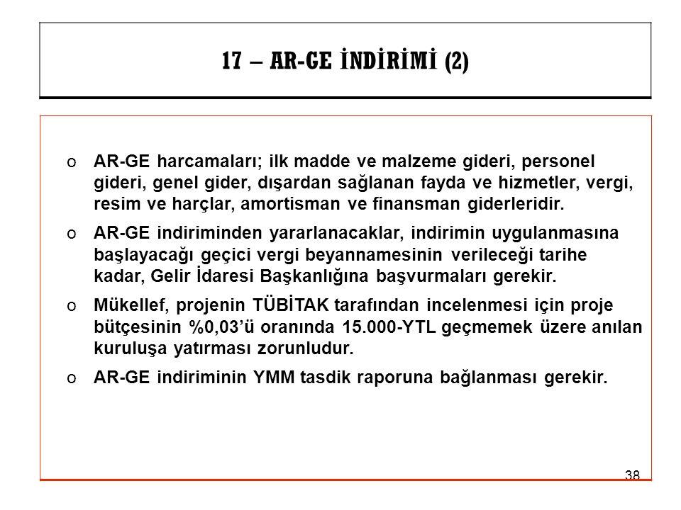 17 – AR-GE İNDİRİMİ (2)