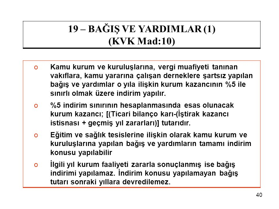19 – BAĞIŞ VE YARDIMLAR (1) (KVK Mad:10)