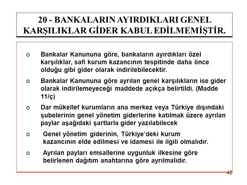 20 - BANKALARIN AYIRDIKLARI GENEL KARŞILIKLAR GİDER KABUL EDİLMEMİŞTİR.