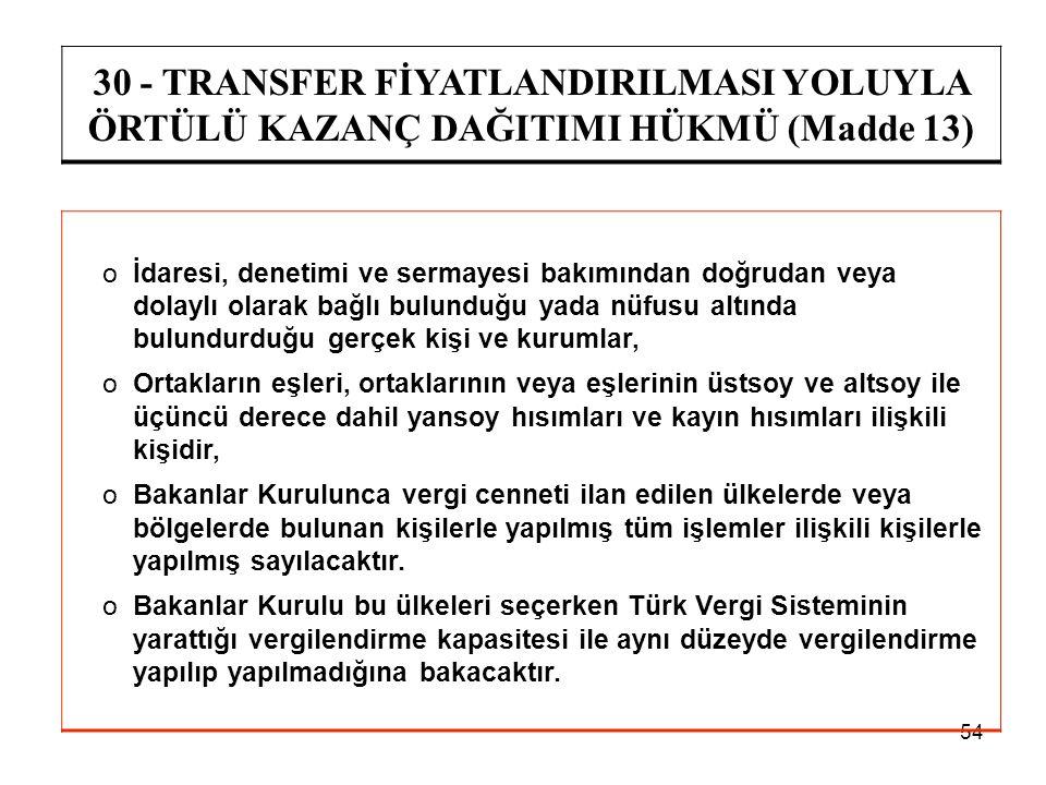 30 - TRANSFER FİYATLANDIRILMASI YOLUYLA ÖRTÜLÜ KAZANÇ DAĞITIMI HÜKMÜ (Madde 13)