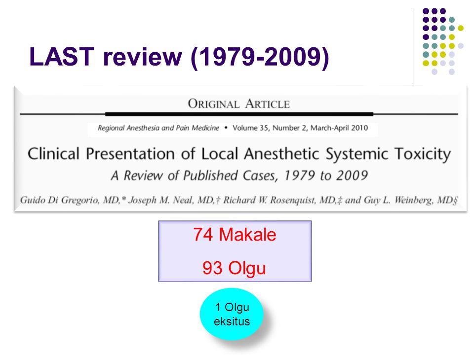 LAST review (1979-2009) 74 Makale 93 Olgu 1 Olgu eksitus