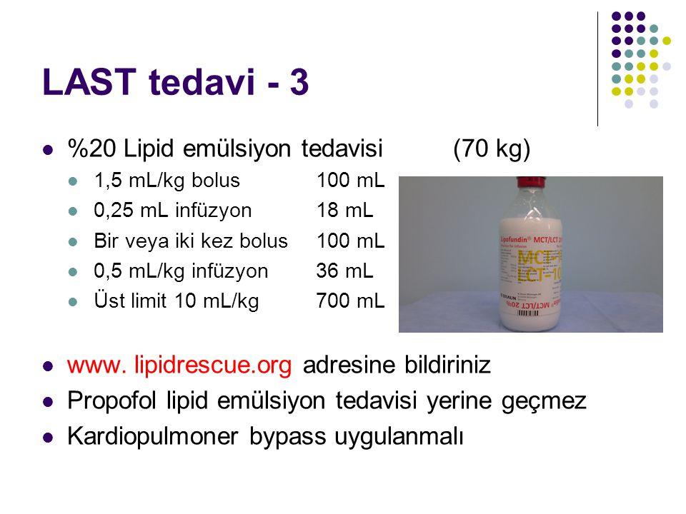 LAST tedavi - 3 %20 Lipid emülsiyon tedavisi (70 kg)