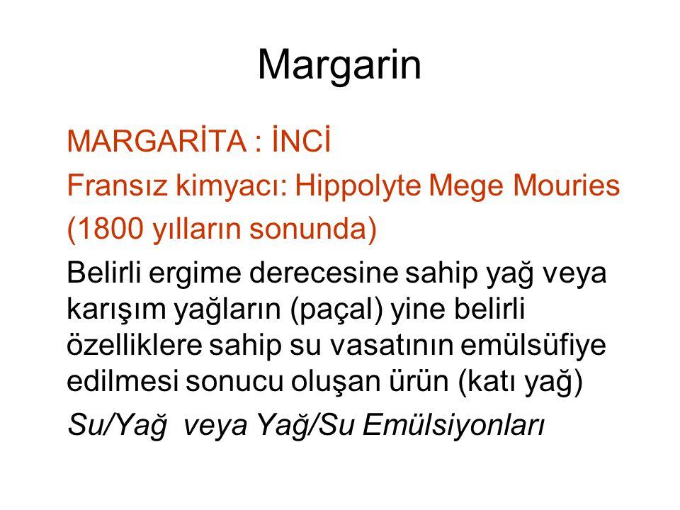 Margarin MARGARİTA : İNCİ Fransız kimyacı: Hippolyte Mege Mouries