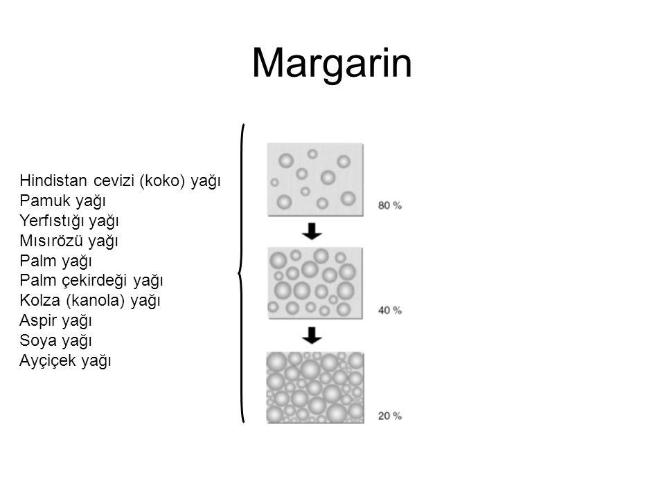 Margarin Hindistan cevizi (koko) yağı Pamuk yağı Yerfıstığı yağı